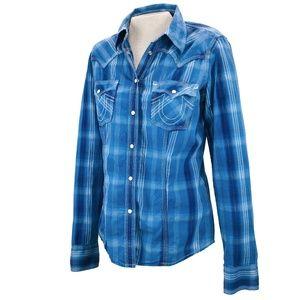 True Religion Blue Western Pearl Snap Shirt L